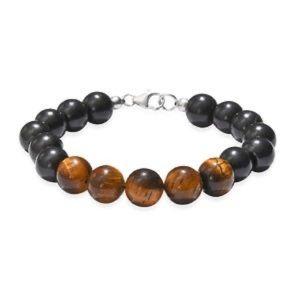 Jewelry - Black Shungite & Tigers eye bracelet 92.50TGW STS